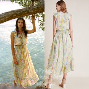 NWT ANTHROPOLOGIE Watercolor Maxi Dress Size 12